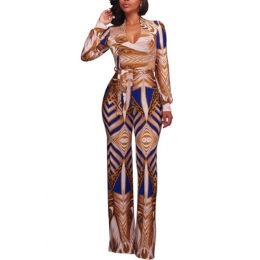 Euramerican Printed Yellow Milk Fiber One-piece Jumpsuits(Without Belt)