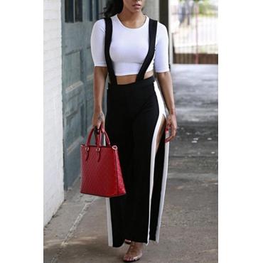 Elegante cintura elástica de revestimiento Negro pantalones de mezcla