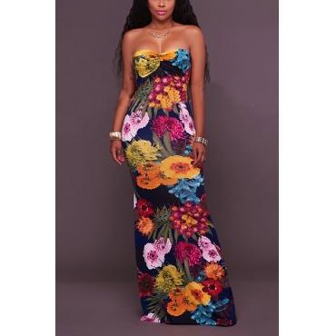 Sexy Dew Shoulder Printed Black Healthy Fabric Sheath Ankle Length Dress