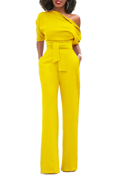 Stylish One-shoulder Yellow Polyester One-piece Jumpsuits(With Belt)