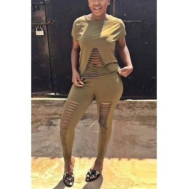 Leisure Round Neck Short Sleeves Hollow-out Army Green Blending Two-piece Pants Set