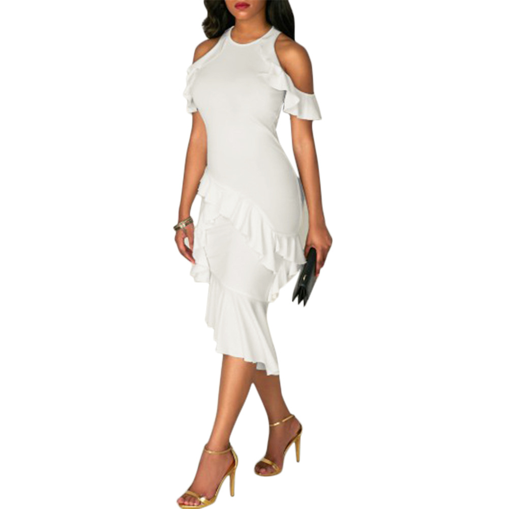 Stylish round neck hollow out white healthy fabric sheath for Cheap clothing material