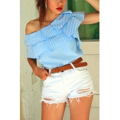 Pullovers Polyester Bateau Neck Short Sleeve Strip