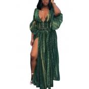 Green Chiffon Skirt Print V Neck Half Sleeve Sexy Two Pieces