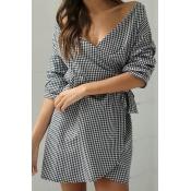 Cotton Sexy V Neck Short Sleeve A Line Mini Dresse
