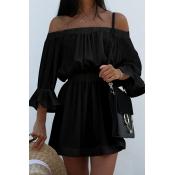 Cotton Sexy Bateau Neck à manches longues en mini-robes