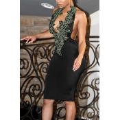 Sexy V Neck Backless Black Polyester Sheath Knee Length Dress