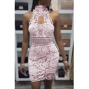 Sexy Backless Pink Lace Sheath Mini Dress (Sem Forro)