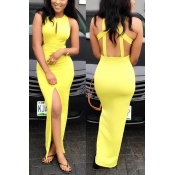 Lemon yellow backless Sheath Dresses