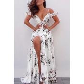 Sexy High-split Printed Maxi Dress