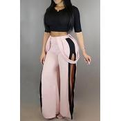 Elegante cintura elástica de color rosa mezcla pantalones