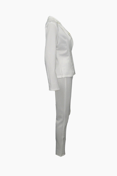 Lovely Stylish Turndown Collar Long Sleeves White  Two-piece Pants Set