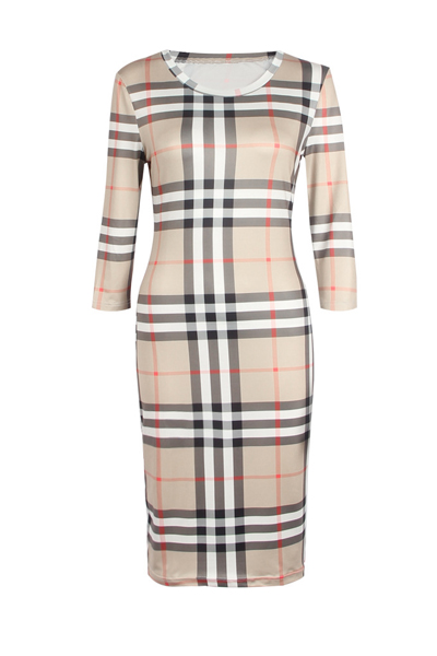 Stilvolle Rundhalsausschnitt Drei Viertel Ärmel Plaids Polyester Mantel Knielangen Kleid