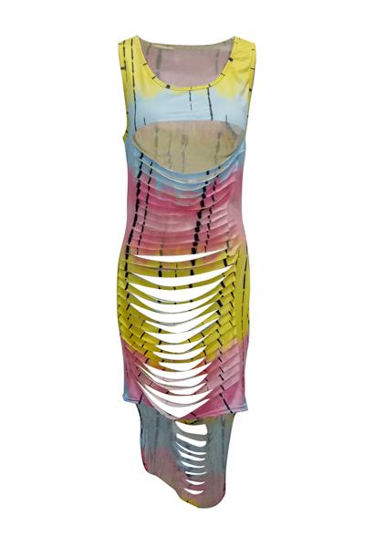 sensual tiro canal sem mangas recôncavo-out Amarelo Milk Fiber Sheath Ankle Length Dress (Non Positioning Printing)