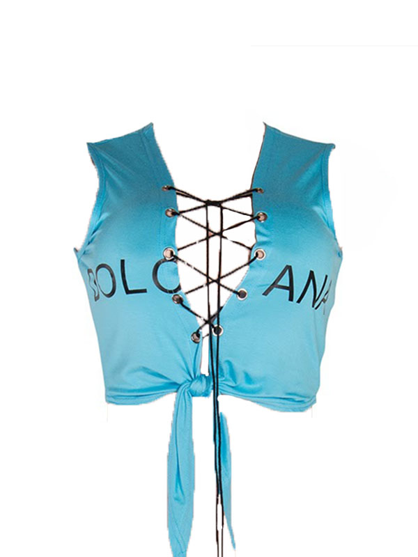 Leisure V Neck Sleeveless Lace-up Hollow-out Light Blue Cotton Shirts