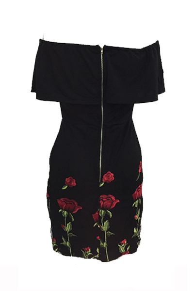 Stylish Dew Shoulder Rose Printed Black Cotton Blend Mini Dress