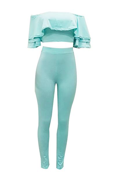 Sexy Dew Shoulder Falbala Diseño azul de leche de fibra de dos piezas conjunto de pantalones