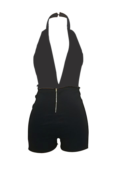 Sexy Deep V Neck Backless Black Twilled One-piece Jumpsuits