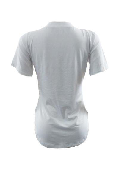 Ocio cuello redondo mangas cortas de algodón blanco impreso T-camisa