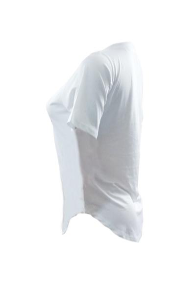 Ocio cuello redondo manga corta impreso camiseta de algodón blanco
