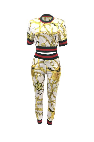 Conjunto De Pantalones De Dos Piezas De Algodón Blanco Patchwork Impreso Cuello Redondo Moda