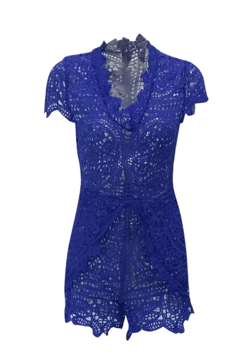 Stylish V Neck Lace Trim Patchwork Blue One-piece Jumpsuits