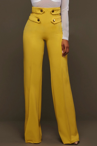 Euramerican High Waist Zipper Design Yellow Polyester Pants