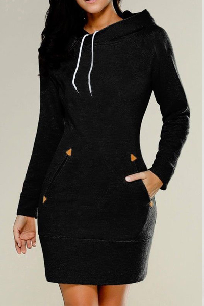 Leisure Long Sleeves Black Cotton Hoodies