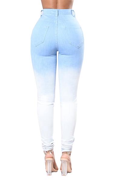 Adorável Denim Sólido Zíper Voar Alto Regular Calças Jeans