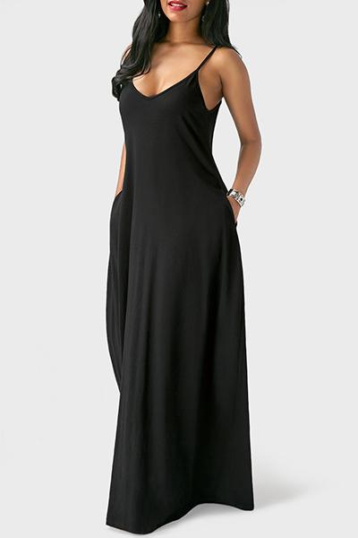 Casual V Pescoço Assimétrico Preto Misturando O Vestido Até O Chão