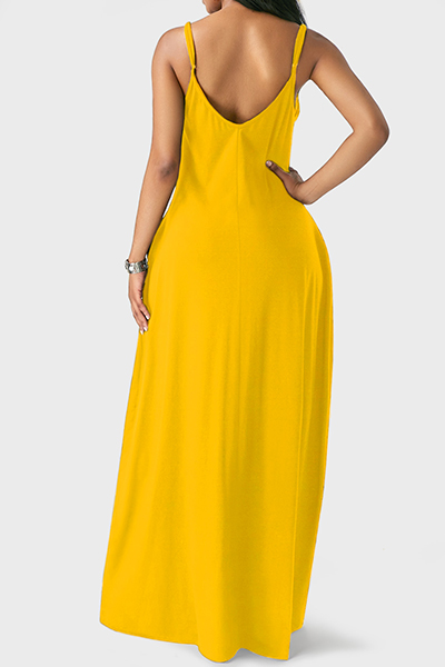 Casual V Neck Asymmetrical Yellow Blending Floor Length Dress