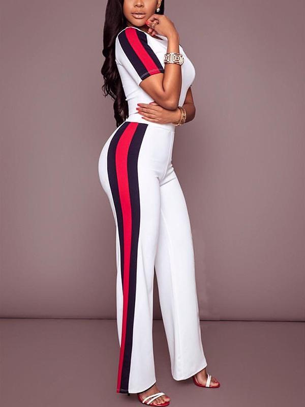 Ocio cuello redondo de alta cintura remiendo blanco poliéster de dos piezas pantalones conjunto