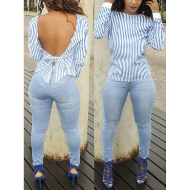 Sexy Round Neck Long Sleeves Striped Blue Cotton Shirts