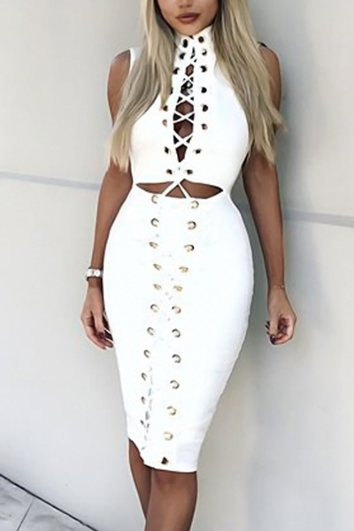 Sexy Turtleneck Hollow-out White Polyester Knee Length Dress(Without Choker)