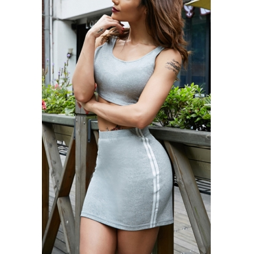 Leisure Round Neck Sleeveless Patchwork Grey Cotton Two-piece Skirt Set