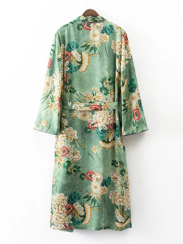 Euramerican Turndown Collar Long Sleeves Floral Print Yellow-green Coat