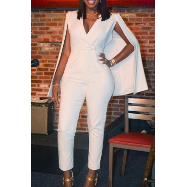 Stylish V Neck White Twilled One-piece Jumpsuits