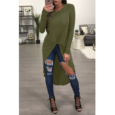 Leisure Round Neck Long Sleeves Army Green Blending T-shirt
