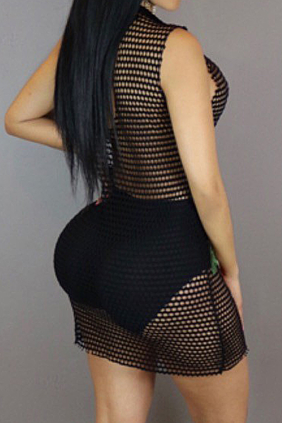 Sexy Deep V Neck See-Through Black Polyester Sheath Mini Dress(Without Briefs)