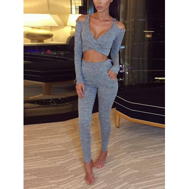 Leisure Round Neck Long Sleeves Hollow-out Grey Cotton Two-piece Pants Set