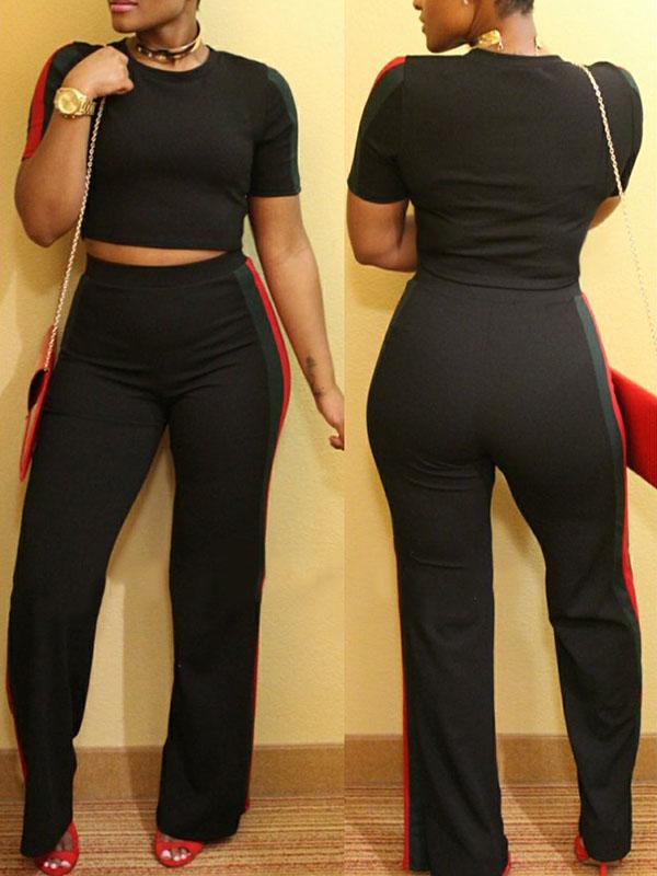Elegante Conjunto De Pantalones De Dos Piezas De Poliéster Negro De Patchwork Cuello Redondo