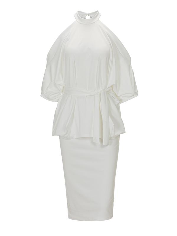 Elegante cuello redondo medias mangas ahuecar-hacia fuera blanco sano tejido vaina rodilla vestido de longitud