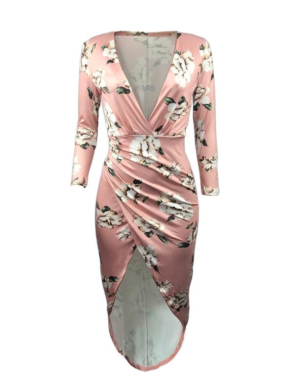 Elegante Gola Redonda Não Posicionamento Impressão Bainha Meados De Vestido De Bezerro