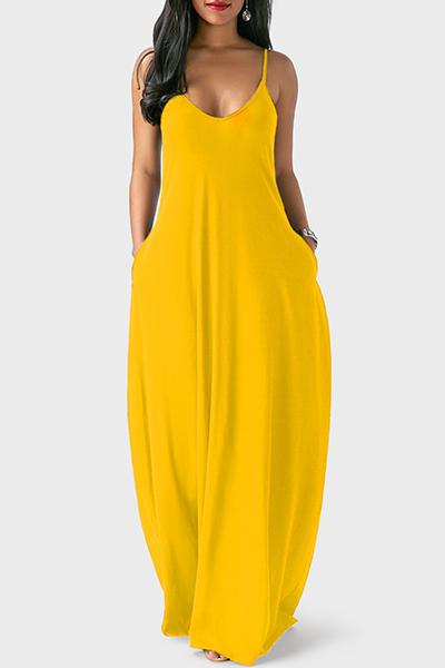 Casual V Neck Asymmetrical Yellow Blending Floor Length Dress - $9.49