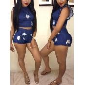 Leisure Round Neck Falbala Design Blue Denim Two-piece Shorts Set