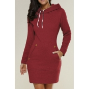 Leisure Long Sleeves Red Cotton Hoodies