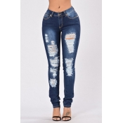 Denim Solid Zipper Fly Mid Regular Hosen Jeans