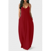 Casual V Neck Asymmetrical Wine Red Blending Floor Length Dress