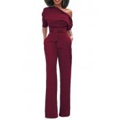 Elegante una spalla poliestere rosso un pezzo Jumpsuits (con cintura)