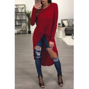 Leisure Round Neck Long Sleeves Wine Red Blending